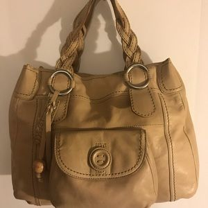 Fossil Lucille Tote Tan Leather Satchel Handbag XL